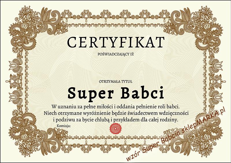 Certyfikat Super Babcia