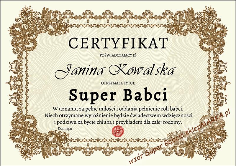 Certyfikat Super Babcia - wypełniony